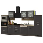 Küchenblock Mailand Gsp B: 340cm Anthrazit - Eichefarben/Anthrazit, Basics, Holzwerkstoff (340/200/60cm) - MID.YOU