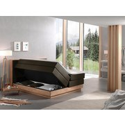 Boxspringbett Moneta 180x200 cm Braun - Eichefarben/Schwarz, MODERN, Holz/Textil (180/200cm) - Livetastic