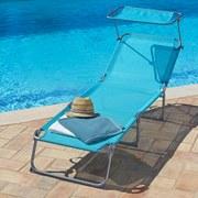 Sonnenliege mit Verstellbaren Dach 189x60cm Lea, Petrol - Silberfarben/Petrol, MODERN, Textil/Metall (189/34/60cm) - Greemotion