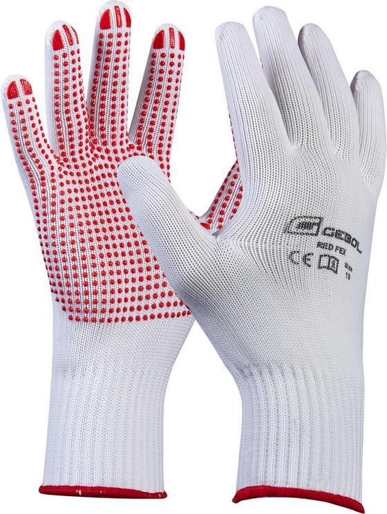Strickbundhandschuhe Gr. 8 - Rot/Weiß, KONVENTIONELL, Textil - Gebol