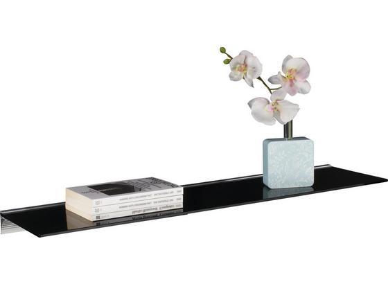 Glasablage Larry B:80cm Sicherheitsglas, Schwarz - Schwarz/Alufarben, MODERN, Glas/Kunststoff (80/20/4,8cm) - Homezone
