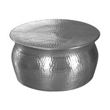 Runder Couchtisch Metall mit Ablage Karam, Silber Dekor - Silberfarben, LIFESTYLE, Metall (60/60/30,5cm) - MID.YOU