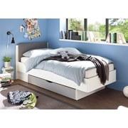 Bett mit Kopfteil Gepolstert + Lade 90x200 Yoris Weiß/Grau - Schwarz/Weiß, Design, Holzwerkstoff/Textil (101,6/84/212,7cm) - Livetastic