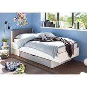 Bett mit Kopfteil Gepolstert + Lade 90x200 Yoris Weiß/Grau - Schwarz/Weiß, Design, Holzwerkstoff/Textil (90/200cm) - MID.YOU