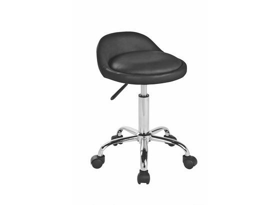 Otočná Židle St Tropez - černá/barvy stříbra, Moderní, kov/textil (41/58,5-72,5/38cm)