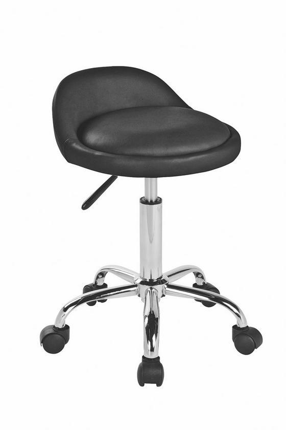 Otočná Židle St Tropez - černá/barvy stříbra, Moderní, kov/textilie (41/58,5-72,5/38cm)