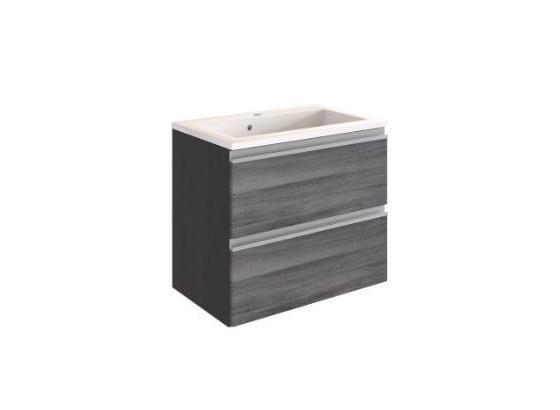 Waschtisch mit Soft-Close Arezzo B: 60cm, Eiche Dekor - Graphitfarben/Weiß, Basics, Holzwerkstoff/Stein (60/55/39cm) - Livetastic