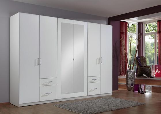 Sechstüriger Kleiderschrank in Weiß mit Schubladen