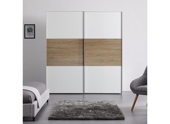 Schwebetürenschrank 200 cm Includo - Eichefarben/Weiß, MODERN, Holzwerkstoff (200/222/68cm)