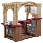 Kinderküche Begehbar - Beige/Rot, Basics, Kunststoff (129/119,4/92,4cm)