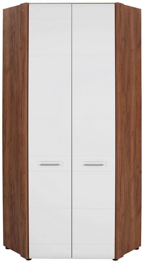 Rohová Šatní Skříň Avensis New - bílá/barvy dubu, Konvenční, kompozitní dřevo (86,5/205,7/86,5cm) - Luca Bessoni
