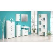 Waschbeckenunterschrank Quadra B: 65 cm Weiß - Chromfarben/Weiß, MODERN, Holzwerkstoff (65,0/53,0/34,5cm) - MID.YOU