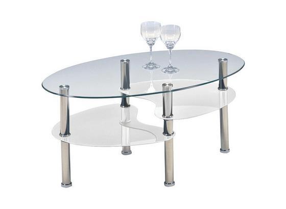 Couchtisch Glas Oval mit Ablageflächen Saba, Weiß - MODERN, Glas (90/45/55cm)