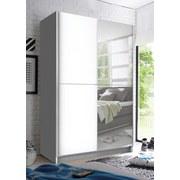Schwebetürenschrank Slim B: 125 cm Weiß - Weiß, Basics, Glas/Holzwerkstoff (125/195,5/38cm)