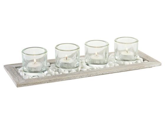 Miska Na Čajovou Svíčku Emilia - čiré/hnědá, dřevo/sklo (40/14/7cm) - Mömax modern living