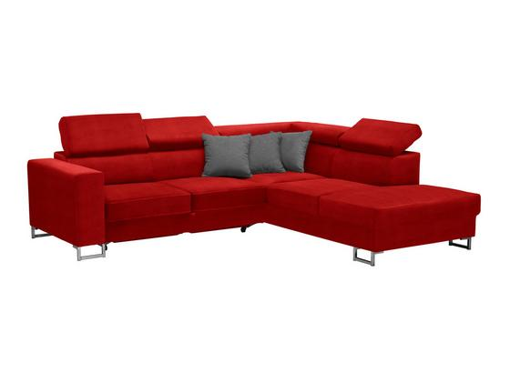 Wohnlandschaft in L-Form California 250x230cm - Edelstahlfarben/Rot, MODERN, Textil (250/230cm) - Luca Bessoni