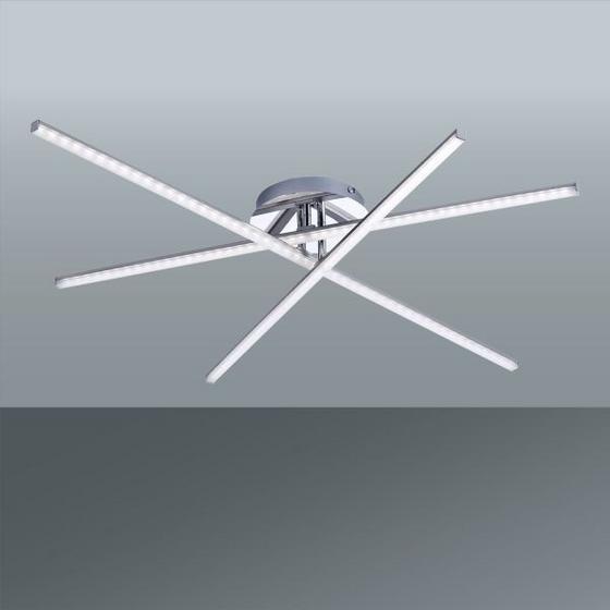 LED STROPNÁ LAMPA SIMON - farby niklu, Konvenčný, kov (101/81/12cm)