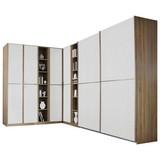 Eckschrank 224x359cm Essensa, Eiche Dekor/Weiß - Eichefarben/Weiß, Design, Holzwerkstoff (224/359cm) - Livetastic