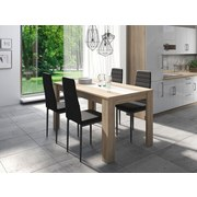 Tischgruppe Nico/Pegasus 80x110 cm - Eichefarben/Silberfarben, Basics, Holzwerkstoff/Textil - MID.YOU