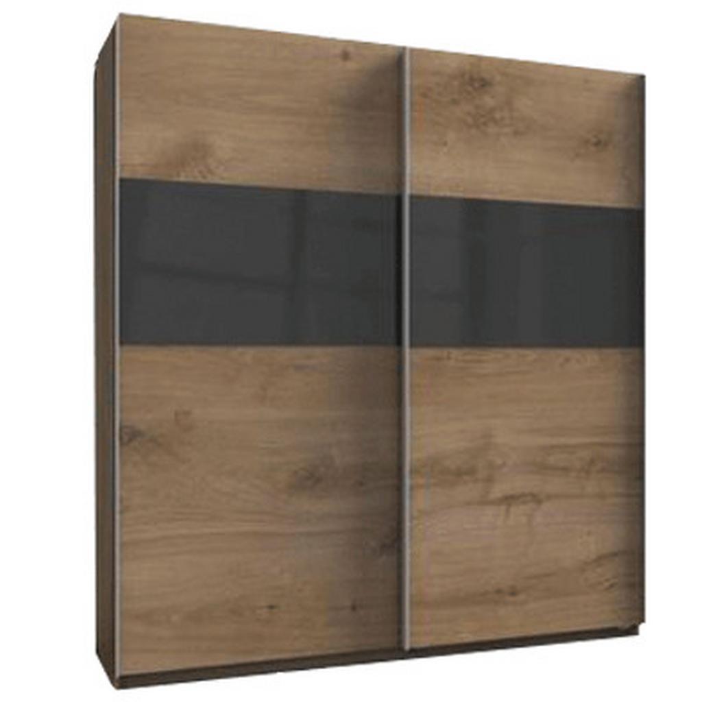 skříň s posuvnými dveřmi Bramfeld,barvy Dubu/sklo Šedé