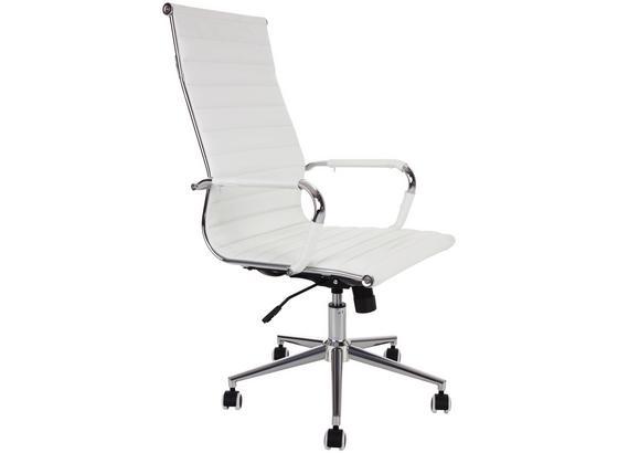 Drehstuhl Office Weiß - Chromfarben/Weiß, KONVENTIONELL, Kunststoff/Textil (54/111,5-121/64,5cm)