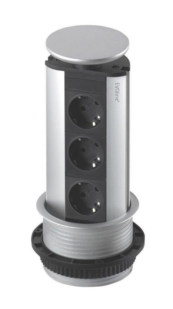 Steckdosenelement Evoline Port - Silberfarben, Metall (91/59/43cm)