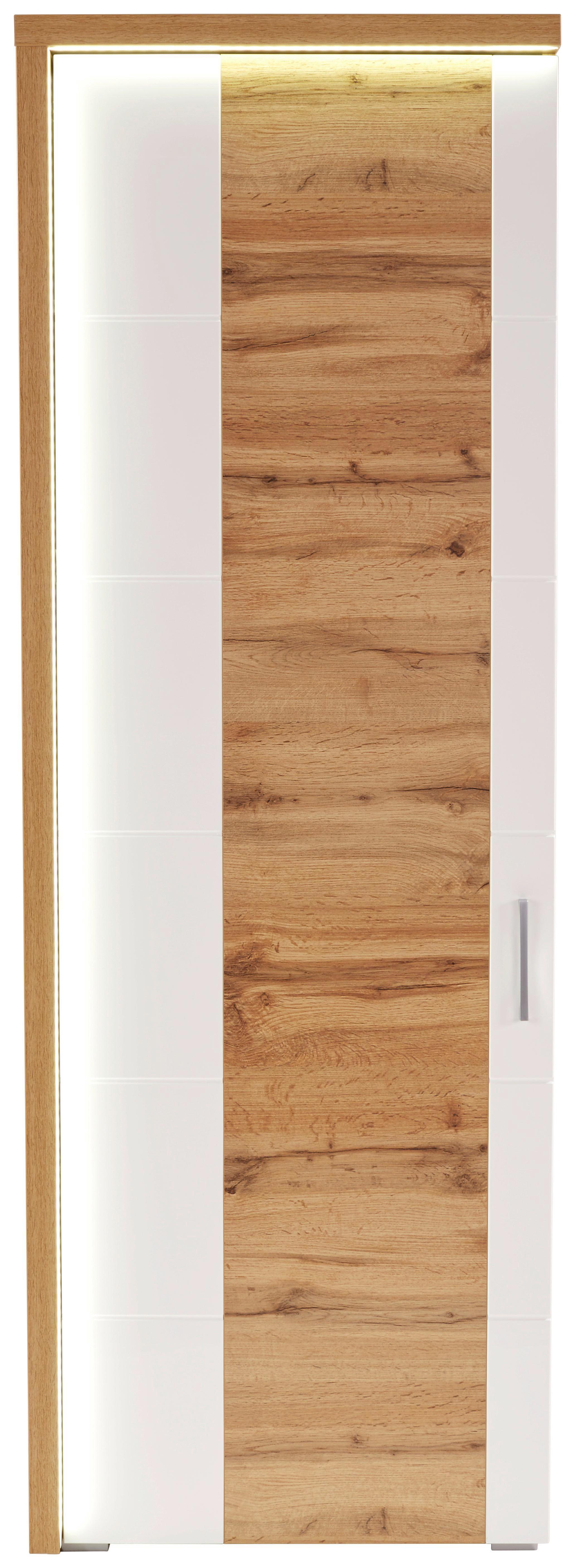 Szekrény Eleganza - tölgy színű/fehér, modern, faanyagok (65/201.3/38cm)