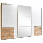 Schwebetürenschrank mit Spiegel + Laden 300cm Level 36a, Weiß - Eichefarben/Weiß, MODERN, Glas/Holzwerkstoff (300/216/65cm) - MID.YOU