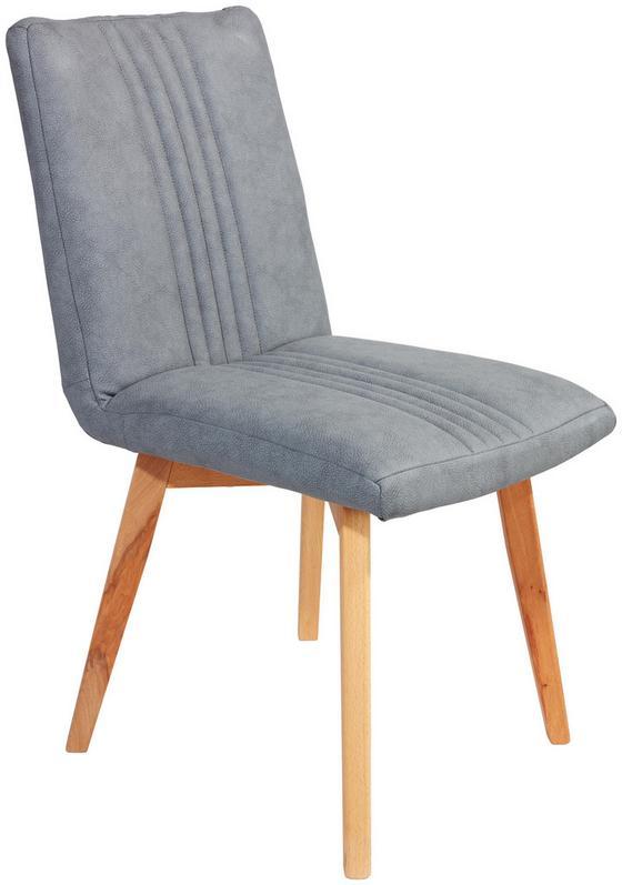 Stuhl Stella - Buchefarben/Grau, KONVENTIONELL, Holz/Textil (44/88/55cm)