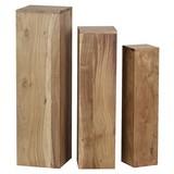 Beistelltisch 3er-Set Säulenform, Akazie Massivholz - Akaziefarben, MODERN, Holz (24,5/85/24,5cm) - MID.YOU