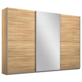 Schwebetürenschrank Belluno 271 cm Eiche/spiegel - Sonoma Eiche, MODERN, Holzwerkstoff (271/230/62cm)