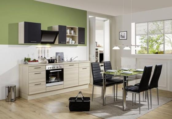 Küchenblock Pn 100/pn 270 - Graphitfarben/Akaziefarben, MODERN, Holzwerkstoff (220cm) - Pino