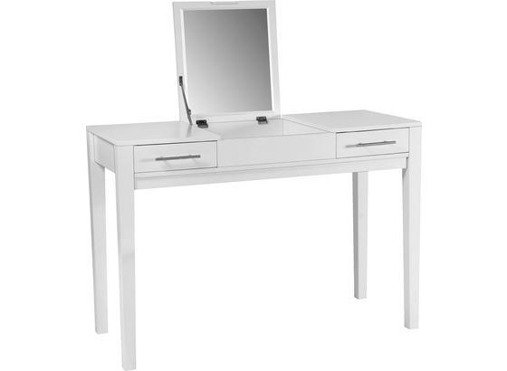 Toaletní Stolek Jasmin - bílá, Moderní, kompozitní dřevo/sklo (110/76/44,50cm)