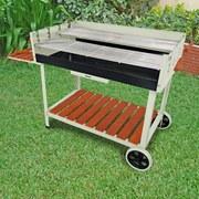 Grillwagen Calor B: 142 cm Silberfarben - Silberfarben, Basics, Holz/Kunststoff (142/91/63cm) - Ambia Garden