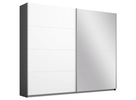 Schwebetürenschrank mit Spiegel 226cm Belluno, Weiß Dekor - Dunkelgrau/Weiß, MODERN, Holzwerkstoff (226/210/62cm)