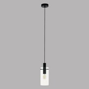 Hängeleuchte Montefino H: 110 cm 1-Flammig Im Retro-Design - Klar/Schwarz, MODERN, Glas/Metall (11/110cm)
