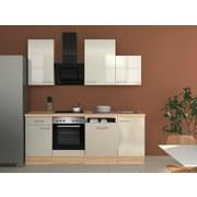 Küchenblock Abaco 220 cm Perlmutt - Edelstahlfarben/Perlmutt, MODERN, Holzwerkstoff (220/60cm)