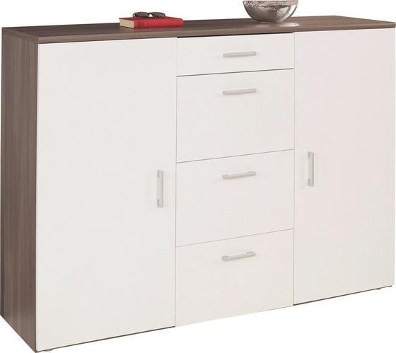 Kommode Paul - Dunkelbraun/Weiß, MODERN, Holz (160/116/42cm)