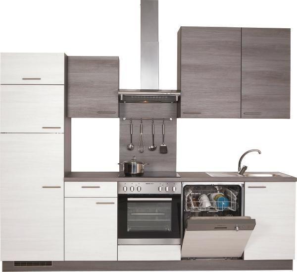 Kuchyňská Linka Plan Plan - bílá/šedá, Lifestyle, dřevěný materiál (280cm)