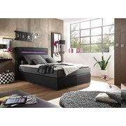 Boxspringbett Cardiff 1 ca. 140x200 cm - Silberfarben/Schwarz, Trend, Holzwerkstoff/Textil (140/200cm) - Carryhome
