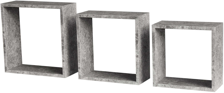 Nástenný Regál Simple 3 - sivá, Moderný, drevený materiál (30/30/12cm)