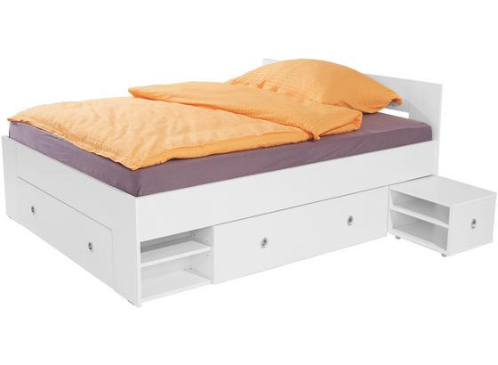 Postel Azurro 140x200cm - bílá, Moderní, kompozitní dřevo (204/75/145cm)