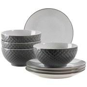 Desserttellerset Dessertteller & Schüssel Telde - Grau, Basics, Keramik (41,3/26,6/32,6cm)