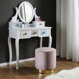 Taburet Julene - ružová, Moderný, kov/textil (38/40cm) - Modern Living