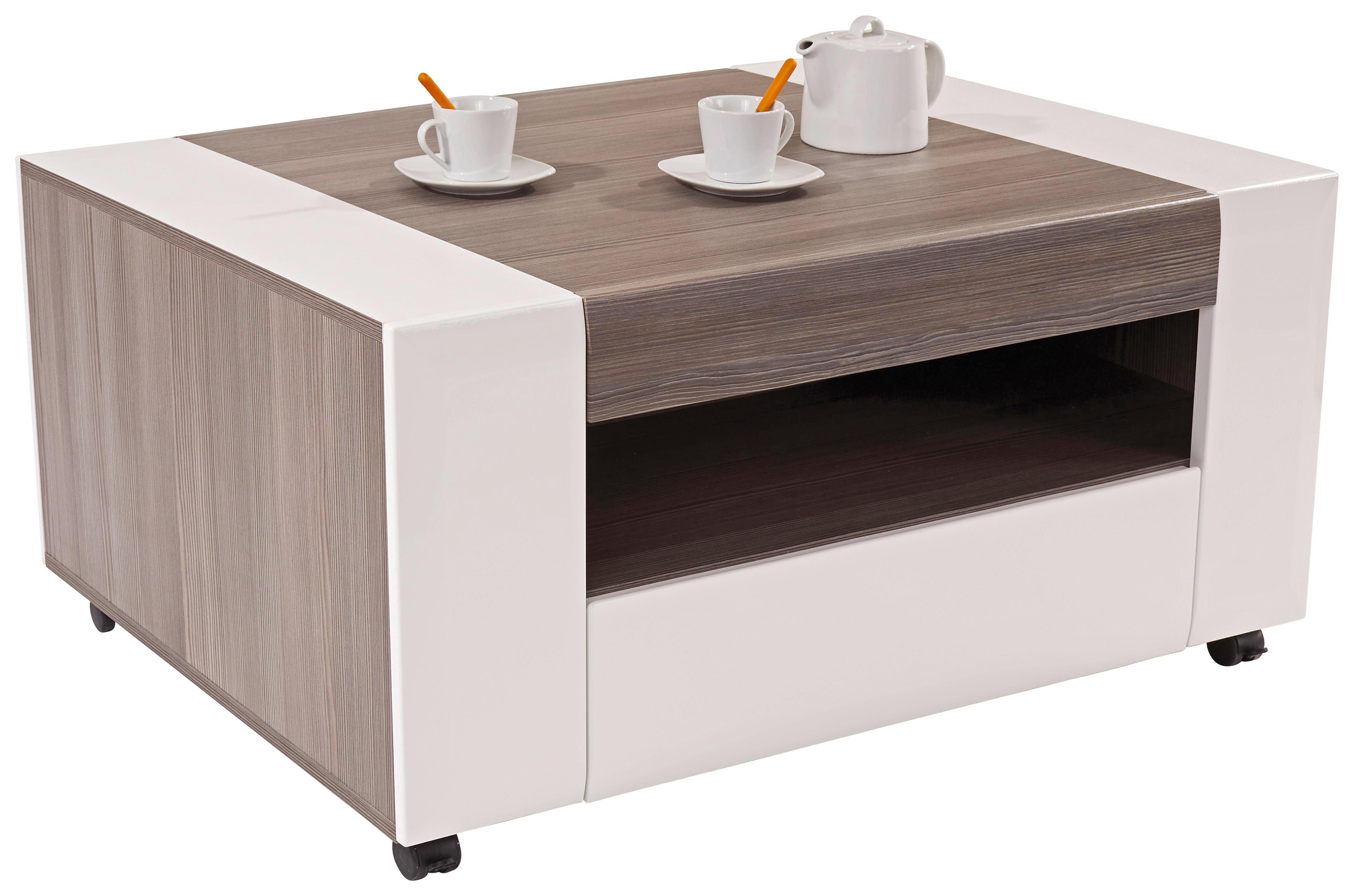 Dohányzóasztal Toronto - sötétszürke/fehér, modern, faanyagok (110/48,3/75cm) - OMBRA