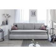 Dreisitzer-Sofa mit Bettfunkt. Tender Eddie, Velours - Hellgrau/Schwarz, Basics, Holz/Holzwerkstoff (225/85/90cm) - MID.YOU