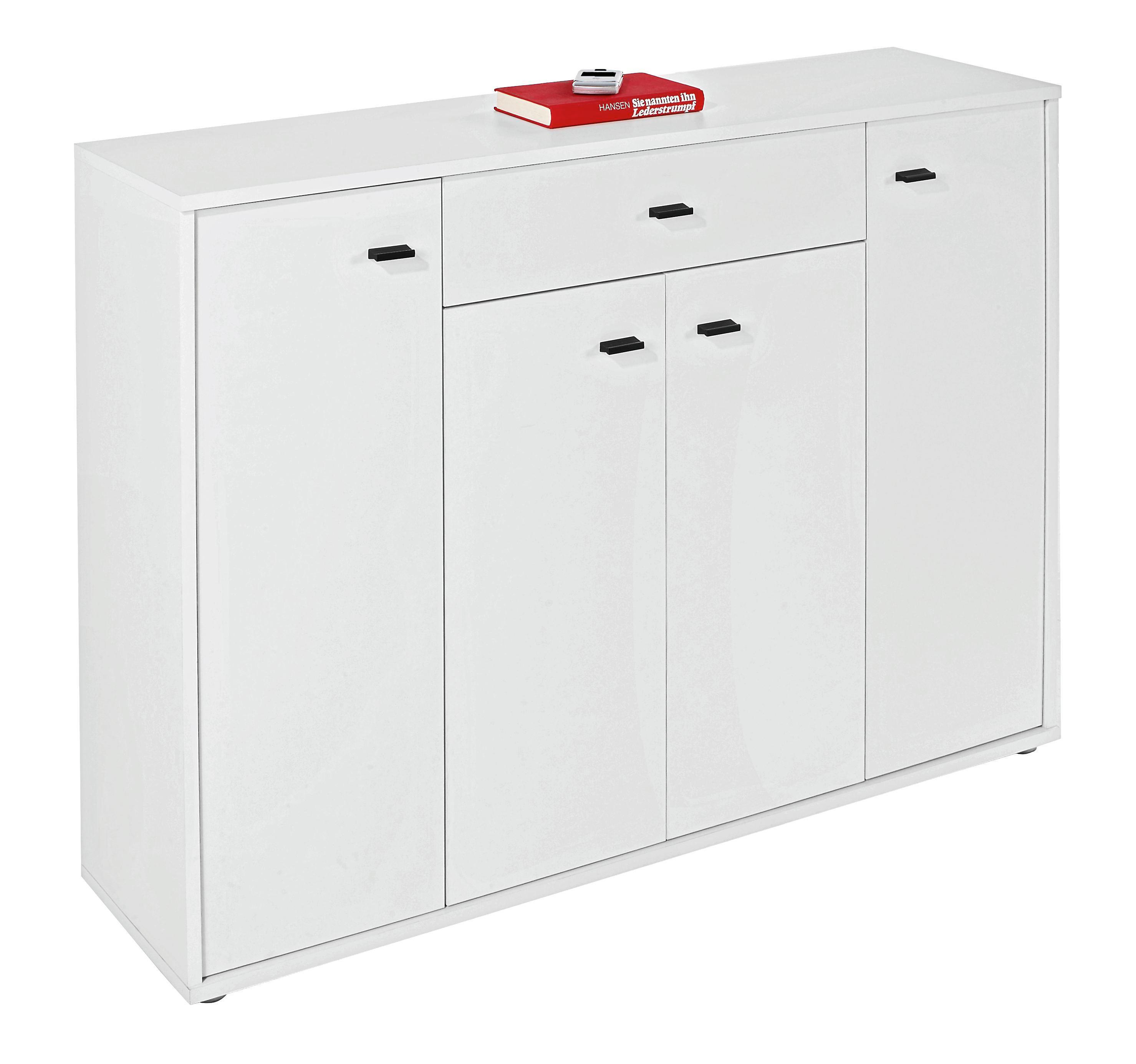 Komoda Boni - bílá, Moderní, dřevěný materiál (116/84/30cm)