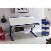 Jugendschreibtisch B: 118 cm Weiß/ Blau - Blau/Weiß, Basics, Holzwerkstoff/Metall (118/60/60cm) - Carryhome