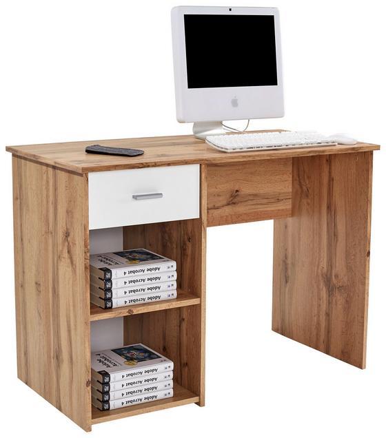 Psací Stůl Kubek 2 *cenový Trhák* - bílá/barvy dubu, Moderní, dřevěný materiál (110/75/50cm)