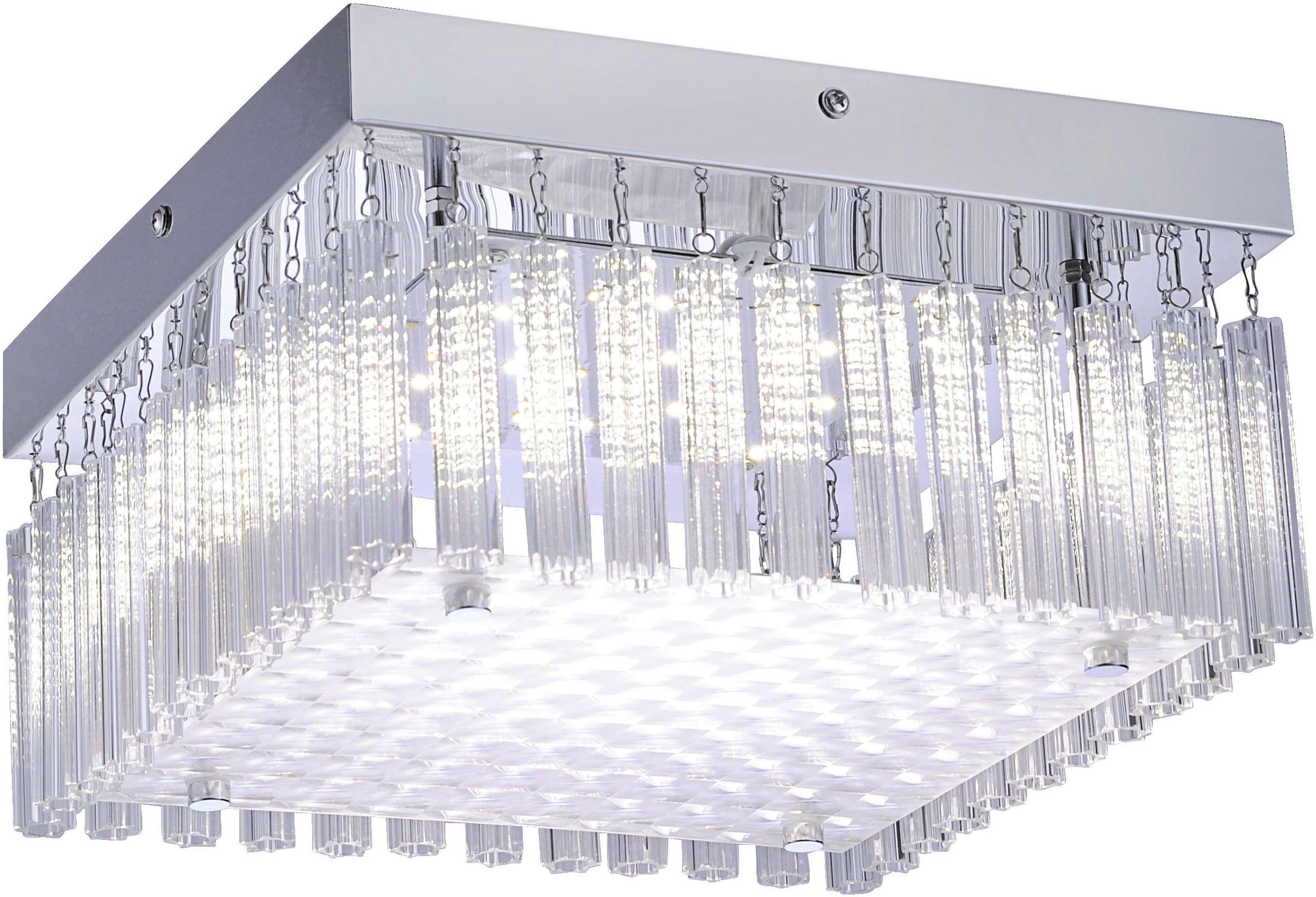 Led Stropná Lampa Lea - farby chrómu, Konvenčný, kov (25/25/13,2cm) - MÖMAX modern living